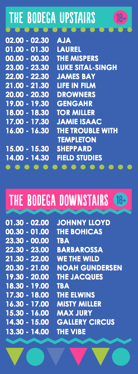 Bodega Dot to Dot 2014 set times image